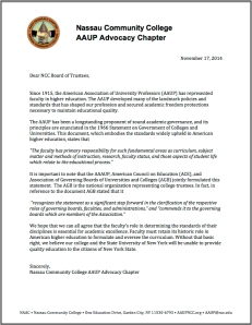 NAAC Letter to BoT 11-17-14